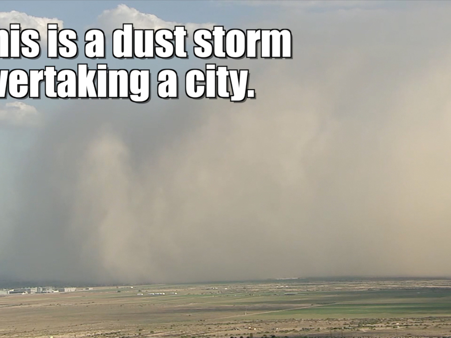 Dust storm overtakes a city