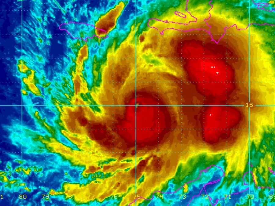 Hurricane Matthew moving through the Caribbean