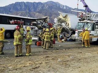 At least 13 dead in tour bus crash in California