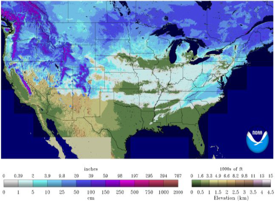 Every State But Florida Has Snow On The Ground - Map-of-us-snowfall