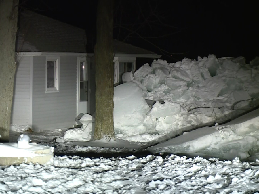 Ice pushed a house off its foundation in Wisconsin