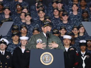 Trump asks Navy crowd to call Congress