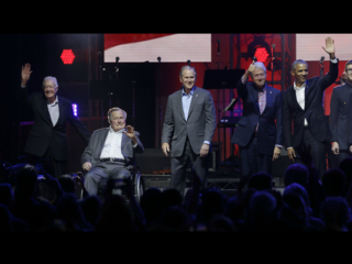 Living former presidents appear at Texas concert