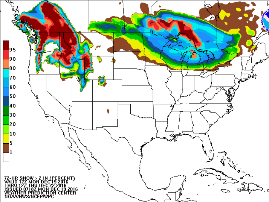 Map shows where snow will fall on Christmas Day - NewsChannel 5 ...